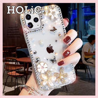 【No.101】 ラメ柄 花柄 クリアケース iPhoneケース