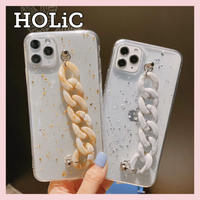 【No.331】 ラメ 大理石柄チェーンホルダー iPhoneケース 2種類