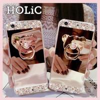 【No.111】ミラーデザイン クマ スタンドホルダー付き iPhoneケース 3種類