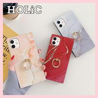 【No.128】 スクエア型 大理石柄 リングホルダー付き iPhoneケース 3種類