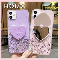 【No.192】ラメ柄 ミラースタンド ホルダー付き iPhoneケース 6種類