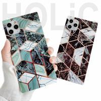 【No.205】  スクエア型 大理石柄 iPhoneケース 2種類