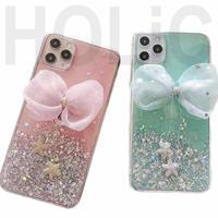 【No.62】ラメ柄 リボン付き iPhoneケース 2種類
