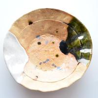 志野織部・石目平皿鉢