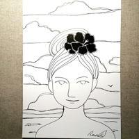 原画「南の島の女」(額入り)