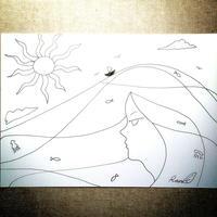 原画「海の息吹」(額入り)
