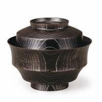 欅4.3駒形煮物椀 黒摺 Platinum 加飾にプラチナを施した煮物椀です。SO-0531