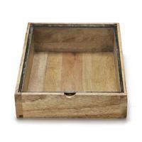"""Wooden Taper Box With Glass Lid / ウッデンテーパーボックスウィズグラスリッド"""