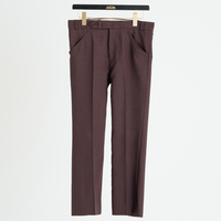 ANKLE CUT PINTUCK FLARE PANTS(BROWN)