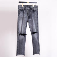 CENTER PRESS DENIM CRASH PANTS(BLACK)