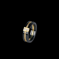 stone×zirconia  ring black gold