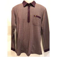 OL-14 FARAH/ファーラーヘリンボーン2TONEシャツ Brown (M)