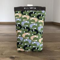 ❝くるくるボーダー❞撥水消臭マナーポーチ (ボーダー3色) (カーキ)