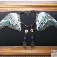 セキセイインコの翼イヤーフック(水色)
