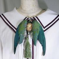 インコの翼ブローチ(大・緑)