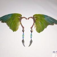 翼イヤーフック(浅葱色×緑)