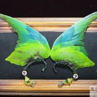 インコの翼イヤーフック(大・緑)