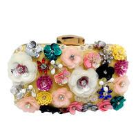 社交女性の花イブニングバッグウェディングパーティーブライダルビーズ財布クリスタルクラッチハンドバッグ ゴールド