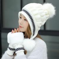 冬の帽子  ニット帽子手袋セット  ポンポンカラーボールビーニーキャップ女の子厚い暖かい ビーニー帽子