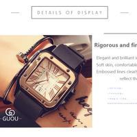 Guou 腕時計  正方形 クォーツ レディース