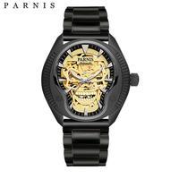 Parnis(パーニス ) スカル腕時計 ドクロデザイン スケルトン機械式 自動巻 発光 ゴールドスカルスチール