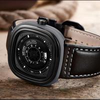 Megir スクエアメンズ腕時計 黒革ストラップ クォーツ腕時計