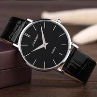 Sinobi メンズ クォーツ腕時計 スーパースリム 防水 レザー