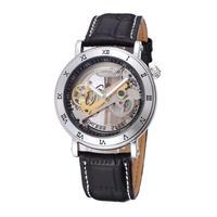 スケルトン 自動機械式腕時計 レザーストラップ メンズ BS