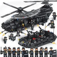 レゴ互換 swat(スワット)チーム輸送ヘリコプター 軍事都市警察官 1351ピース 0108