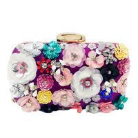 社交女性の花イブニングバッグウェディングパーティーブライダルビーズ財布クリスタルクラッチハンドバッグ パープル