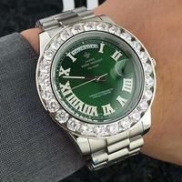カラー8種 LGXIGE 腕時計ベゼルダイヤ デイデイト ハイエンドオマージュ ステンレスサファイアクリスタル クォーツ