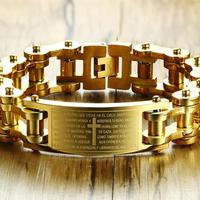 ブレスレット  ゴールド 十字架 クリスチャン 聖書 ワイド キリスト アクセサリー VNOX-BR-534G