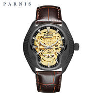 Parnis(パーニス ) スカル腕時計 ドクロデザイン スケルトン機械式 自動巻 発光  ゴールドスカルレザー2