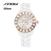 Sinobi レディース クォーツ腕時計 ホワイトブレスレット ダイヤモンド