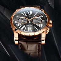 機械式手巻き 高級メンズ腕時計 クロノグラフ LOBINNI カラー選択可