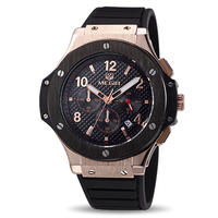 MEGIR メンズ腕時計 ウブロ風 ビッグバンタイプセラミック調ベゼル ラバーバンド クォーツ クロノグラフHM1H