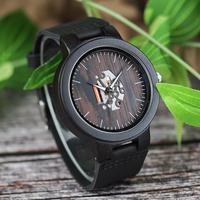 BOBO BIRD  木製腕時計 ブラック レザーストラップ クォーツ腕時計 C-H30