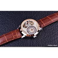 Forsining メンズ 高級 機械式腕時計 ブラウン本革