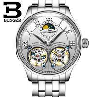 BINGER 腕時計 トゥールビヨン 機械式 防水 サファイアクリスタル  メンズ スチール