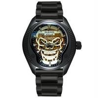 Parnis(パーニス ) スカル腕時計 ドクロデザイン スケルトン機械式 自動巻 発光  black steel band