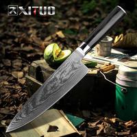 XITUO 海外ブランド 万能包丁 ダマスカス鋼 67層 8インチ 60HRC 三徳包丁 シェフナイフ