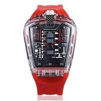 KIMSDUN メンズ クォーツ腕時計 シリコンストラップ K-725-6 レッド
