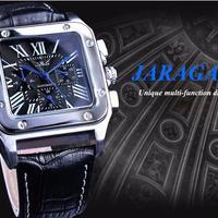 Jaragar 機械式腕時計 レトロ クラシックデザイン ローマ数字 本革ベルト