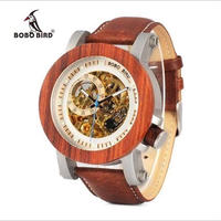 BOBO BIRD ユニセックス 木製 機械式腕時計 スケルトンタイプ