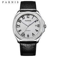 Parnis (パーニス )自動巻き サファイアブラック 機械式時計 文字盤ローマ数字