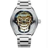 Parnis(パーニス ) スカル腕時計 ドクロデザイン スケルトン機械式 自動巻 発光  silver steel band