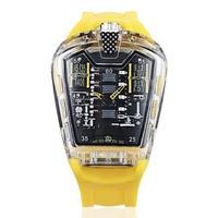 KIMSDUN メンズ クォーツ腕時計 シリコンストラップ K-725-5 イエロー