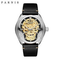 Parnis(パーニス ) スカル腕時計 ドクロデザイン スケルトン機械式 自動巻 発光  ゴールドスカルレザー6