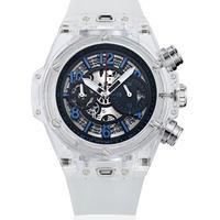 KIMSDUN スケルトン腕時計 メンズ クォーツムーブメント ホワイト・ブルー  K-719-6