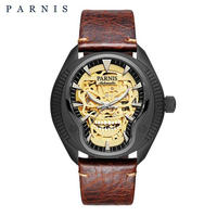 Parnis(パーニス ) スカル腕時計 ドクロデザイン スケルトン機械式 自動巻 発光  ゴールドスカルレザー3